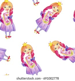 Watercolor seamless pattern with princesses.