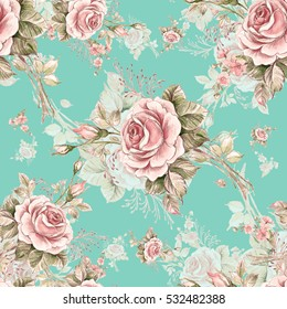 Watercolor seamless pattern roses in bud R. Beautiful pattern for decoration and design. Trendy print. Exquisite pattern of watercolor sketches of the flower. Vintage.