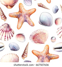 Watercolor seamless pattern with sea shells on white background. Hand painting on paper