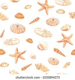 Watercolor seamless pattern of seashells and starfish