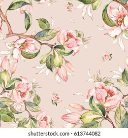Watercolor seamless pattern of spring branches-1