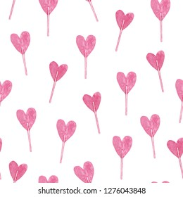 Watercolor seamless pattern with St Valentine day lollypops.