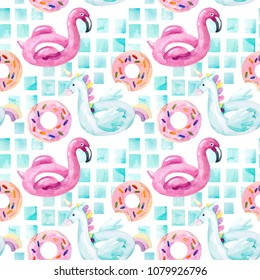 Watercolor seamless pattern with summer pool floats in cartoon style. Water color flamingo, unicorn pool float, ring donut lilo floating in blue swimming pool. Hand painted summer holiday illustration