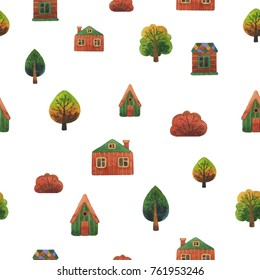 Watercolor seamless pattern with trees and houses. Cartoon hand drawn texture isolated on white background. Watercolor seamless pattern, houses, trees, city street.