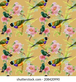 Watercolor seamless pattern with tropical birds and flowers on brown background