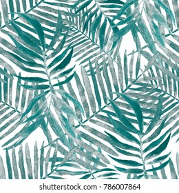 Watercolor seamless pattern with tropical leaves: palms, monstera, passion fruit. Beautiful allover print with hand drawn exotic plants. Swimwear botanical design.