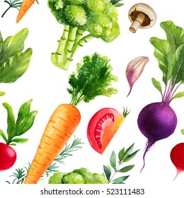 Watercolor seamless pattern. Vegetables.