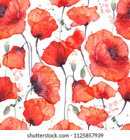 Watercolor seamless pattern with wild red poppies on white background. Surface design for interior decoration, textile printing, printed issues, invitation cards