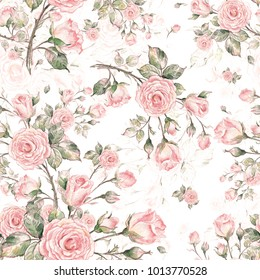 Watercolor Seamless Rose Pattern, pattern for fabric and wallpaper, for design and decoration.