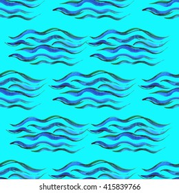 Watercolor seamless wave pattern hand-painted in blue tones on a blue background