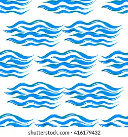 Watercolor seamless wave pattern hand-painted in blue on a white background