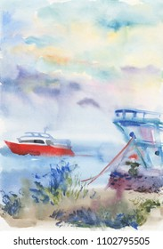 Watercolor seascape with boat. Hand drawn nature background. Painting summer illustration