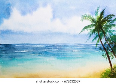Watercolor seascapes illustration.