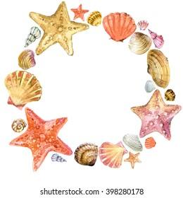 Watercolor seashells wreath illustration.