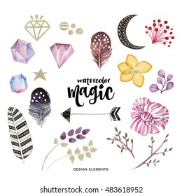 Watercolor set. Colorful collection with flowers, feathers and crystals, drawing watercolor. Spring or summer design for invitation, wedding or greeting cards. Ethnic illustration