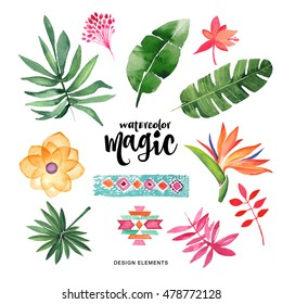 Watercolor set. Colorful tropical floral collection with leaves and flowers, drawing watercolor. Spring or summer design for invitation, wedding or greeting cards
