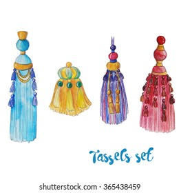 Watercolor set with decorative colorful tassels