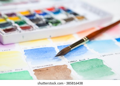 Watercolor set on painting chart.