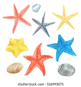 Watercolor set of sea life isolated on white background. Collection of colorful hand painted sea stars and stones inspired by travel and vacations