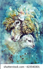 watercolor sheep and white lamb on the blue colorful background