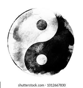 Watercolor sigh of Yin and yang