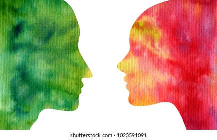 watercolor silhouette profiles of man and woman at white background