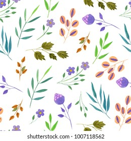 Watercolor simple spring and summer purple flowers and green branches seamless pattern, hand painted on a white background