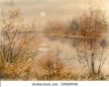 Watercolor sketch: Autumn sunrise, the sun in the haze