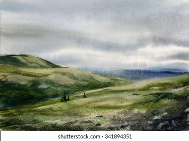 Watercolor sketch: Bad weather comes (Kandalaksha tundra)