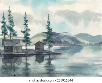 Watercolor sketch: Boathouse on the lake