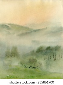 Watercolor sketch: Misty Bashkiria