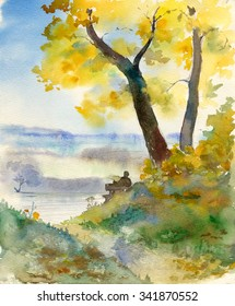 Watercolor sketch: In the shadow of the golden maple
