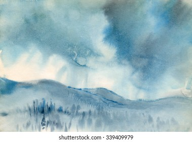 Watercolor sketch: Snowstorm
