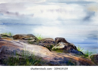 Watercolor sketch: Stones on the shore of the White Sea