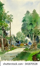 Watercolor sketch: street of Balakhna