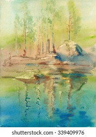Watercolor sketch: Sunny morning in Karelia