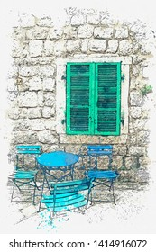 Watercolor sketch visible on an empty street cafe. Tables and chairs near the old building.