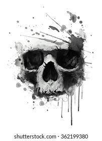 Watercolor skull illustration