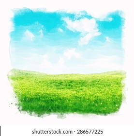 Watercolor sky and grass background. Green fields under the blue sky.