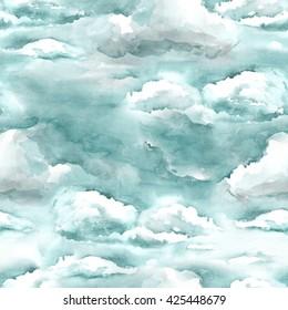 Watercolor Sky Seamless Pattern