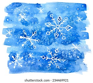 watercolor snowflakes abstract background.