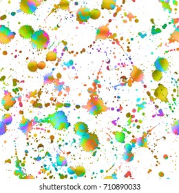 Watercolor splatter seamless pattern. Abstract boho background. Unusual artistic swimwear print. Ethnic endless tile with primitive hand drawn elements. Random grunge ink drops. Bold texture backdrop.