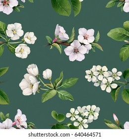 Watercolor spring flowers. Hand painted blooming trees. Seamless pattern