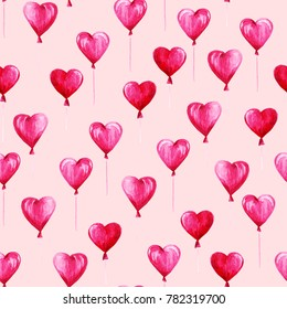 Watercolor St Valentines Day pattern. Romantic pink balloons in shape hearts. For card, design, print or background.