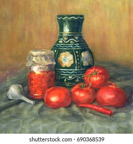 Watercolor still life with tomatoes. Realistic watercolor painting. Tomatoes, jar and spice.