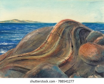 Watercolor: Stones at the White sea (Sidorov Island)