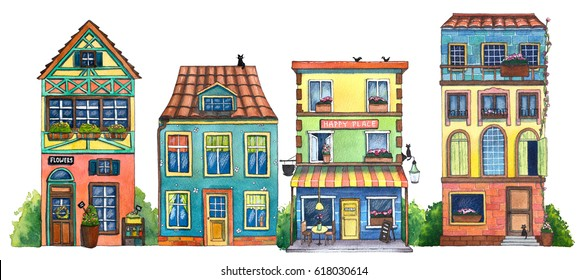 Watercolor street with cafe, houses, flowers shop, and cats. Hand drawn illustration.