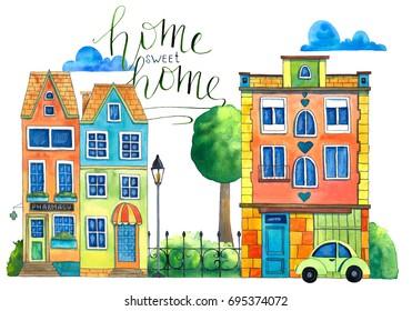 Watercolor street. Hand drawn illustration.