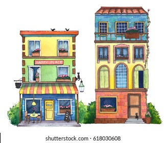 Watercolor street with houses, cafe, and cats. Hand drawn illustration.