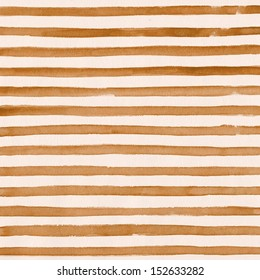 Watercolor striped background in sepia